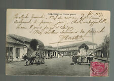 1907 Ceylon RPPC postcard Cover to France Union Place Colombo Ox Cart Street