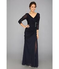 Adrianna Papell Drape Covered Gown size 4 new with tags ink color