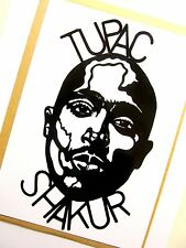 "Tupac shakur original hip hop pop art, 4""X 8"" pouces 2pac vinyle autocollant portrait"