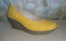 NEW Fly London Yoni Yellow Suede Wedges NIB SZ 36 MSRP $185