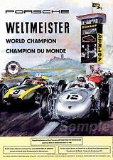VINTAGE 1960's PORSCHE WELTMEISTER WORLD CHAMPION A2 POSTER PRINT