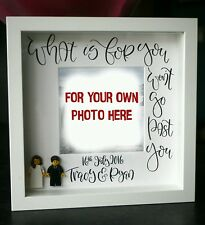 Personalised bride and groom Lego  Wedding Anniversary Gift White Frame