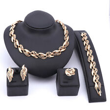 Women Wedding Party Gold/Plated Necklace Earring Bracelet Ring Jewelry Sets
