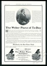 1907 Weber grand piano Moriz Rosenthal photo vintage print ad