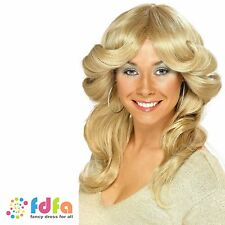 70s FARRAH FAWCETT BLONDE DISCO LONG WAVY LAYERED FLICK WIG ladies fancy dress