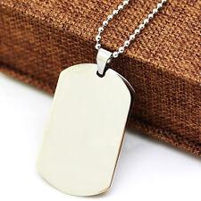 Men Personlized Titanium Military Army Dog Tag Engravable Pendant Necklace