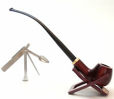 "Churchwarden Tobacco Pipe ""Set""m  With Stand & Czech Tamper - Hand Made Mr Brog"