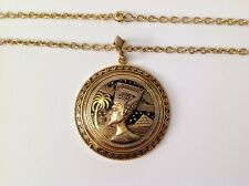 Beautiful Vintage Damascene Pharaoh Pendant Necklace