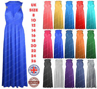 New Womens Maxi Dress Ladies Long Stretch Coil Maxi Plus Size 16 18 20 22 24 26