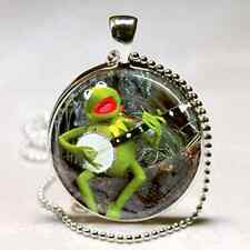 KERMIT THE FROG NECKLACE Rainbow Connection BANJO Musician Gift Altered Art