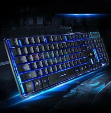 New 114-Key LED Illuminated Backlit Wired USB Gaming Keyboard with 3-Color Light