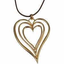 Color de Oro en Capas enorme Triple Corazón Colgante Collar Largo De Cuero Marrón