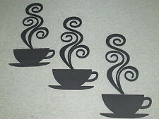 3 Coffee Cups with steam Laser Cut wood Wall Decor Kitchen Art Sign coffee shop