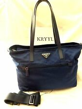 NWT Prada Vela Tessuto Nylon Zip Top Tote Shoulder Bag, BR4842 Royal $830