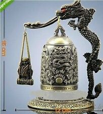 Chinese Bronze Brass sculpture Dragon Buddhism pray Bell