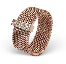 Rose Gold over Stainless Steel Women's 8mm Wide Mesh Ring with CZ Band Size 8