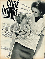 PUBLICITE ADVERTISING 124  1963  CHAT BOTTE   tricots en laine