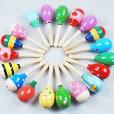 ZOCA Colorful Wooden Maraca Rattles Kids Party Child Baby Beach Shaker Toy 1 PC