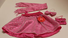 NEW NWT Build A Bear Pink Dressy ROSE FORMAL Outfit includes Scarf, Purse & Bow