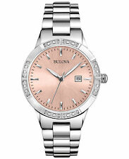 Bulova Women's 96R175 Silver-Tone Pink Dial Diamond Watch