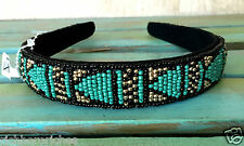 NWT Urban Outfitters shaped turquoise black gold Aztec Seed Bead Headband 1""