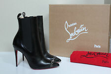 New 6.5 / 37 Christian Louboutin Banjo Spiked Black Leather Cap Toe Bootie Shoes
