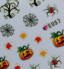 Nail Art 3D Sticker Halloween Decal Spider Web Pumpkin Fall leaf Tree Branch