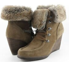 MARC FISHER BATH Brown Multi Suede Faux Fur Designer Wedge Ankle Boot 8.5