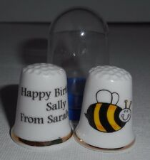 Personalised Fine Bone China Bumble Bee Thimble, Plastic Display Case, Bee Gift
