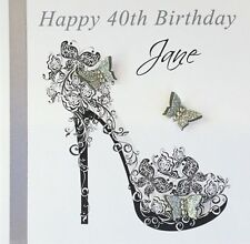 Personalised Handmade Silver Shoe Birthday Card 16th,18th,21st,30th,40th,50th
