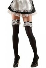 Black French Maid Stockings Hold Ups Thigh Highs XL Plus Size (16-20)