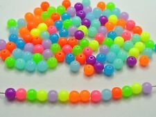 500 Mixed Neon Color Acrylic Round Beads 6mm Smooth Ball Spacer