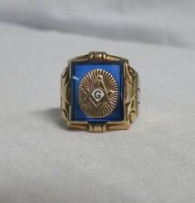 10K Yellow Gold Masonic Ring Blue Mason Compass Size 7-3/4