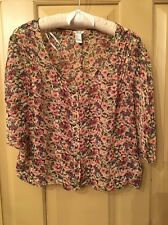 FOREVER 21 Size S L Floral Multi Color Kimono Style Sheer Blouse Top