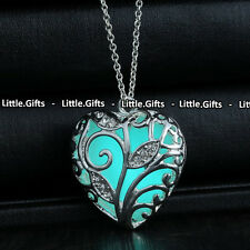 Turquoise Glow In The Dark Silver Necklace Unusual rare Gift For Her Wife Girl