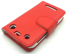 RED LEATHER Wallet Flip Custodia Cover Blackberry Curve 9370 9360 9350
