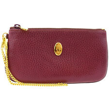 Auth Must De Cartier 2C Logos Chain Pouch Bag Wallet Leather Bordeaux 03U074