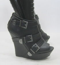 "Blacks 5.5""high wedge heel 1.5""platform open toe sexy ankle boot.Size. 8"