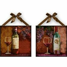 """""""Wine"""" Wall Plaques, Kitchen Wall Decoration Set of 2 NEW Free Shipping"""