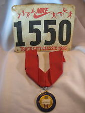 1985 TRACK CITY INTERNATIONAL CLASSIC EUGENE OREGON MEDAL RIBBON & NIKE # TAG