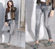 NWT CURRENT ELLIOTT Grey Snake Print Skinny Jeans Ankle Denim Pants Size 27 $278