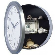 Secret Wall Clock Hidden Money Safe w 3 Shelves Invisible Jewellery Storage Rack