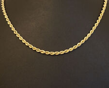 """9ct Yellow Gold 21"""" Twisted Rope Link Chain / Necklace 3mm Wide"""