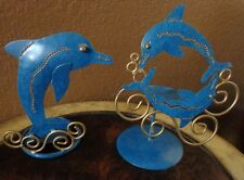 Dolphins Metal Candleholders Marine Blue and Gold