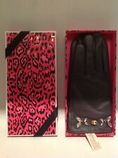 juicy Couture Glamour Girl Leather Jeweled Gloves Retails $108.00