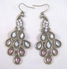 Gorgeous New Dangling Peacock Earrings With Pink & Clear Rhinestones #E1124