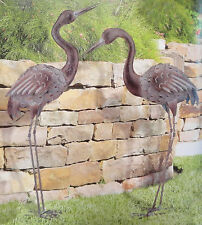 Bronze Crane Pair Yard Art 3D Metal Sculpture Outdoor Statue Handcrafted Heron