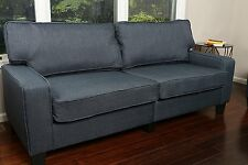 "Upholstered Linen Dark Blue Sofa Couch Love Seat Contemporary 78"" Seating NEW"