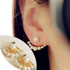 Fashion Korean Small Imitation Pearl Earrings Dragon Hand Ear Cuff Ear Stud HG