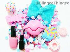 DIY Big Blue Bow 3D Rhinestone Pink Flatback Resin Kawaii Lips Deco Bling Kit